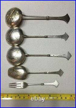 Russian Imperial Silver 84 Gold Wash Set Of 4 Spoons And 1 Fork 120 Grams