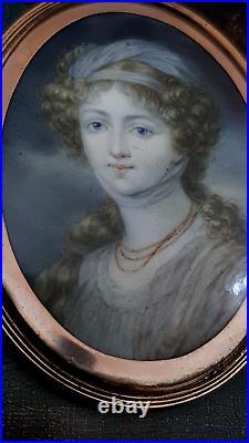 Russian Royal/F Elizabeth Alexeievna Mini/p Oil &14K Gold Elisabeth V Le Brun