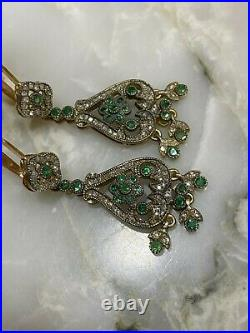Russian Vintage 14K Gold Imperial Long Earring with Emeralds and Diamonds