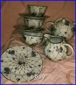 Set Of 10 Vntg Russian Imperial Lomonosov Porcelain Snack Cobalt/Gold Accents