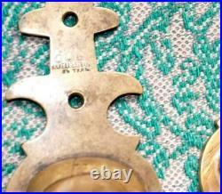 Three Heavy Antique Imperial Russian Bronze Brass Door Pull Handle Horns Signed