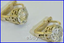 Unique Imperial Russian Faberge 4ct Diamonds gold earrings for Empress Alexandra