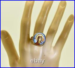 Very rare antique Imperial Russian 14k gold &hand painted enamel icon ring c1909