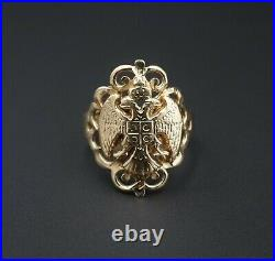 Vintage 14k Yellow Gold Russian Imperial Double Eagle Ring Size 6.5 RG2529