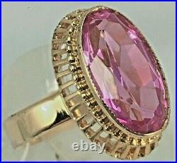 Vintage Original Soviet Royal Russian Rose Gold Ring with Amethyst 583 14K USSR