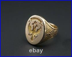 Vintage Solid Gold Russian Imperial Eagle Signet Ring Wax Seal Size 7.5 RG2516