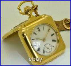WWI Imperial Russian officer's 18k gold plated square shaped pocket/desk watch