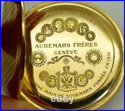 WWI Imperial Russian officer's award Audemars Freres 14k gold pocket watch&box